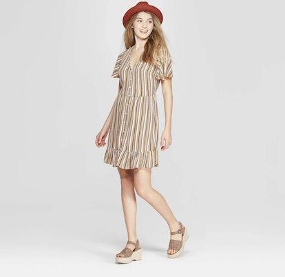 Striped Short Sleeve Deep V-Neck Button Front Dress