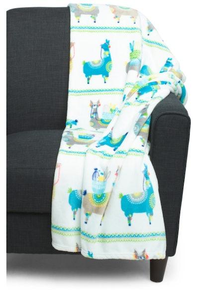 Llama Parade Plush Throw