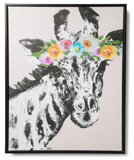 Flower Crown Giraffe Canvas Wall Art