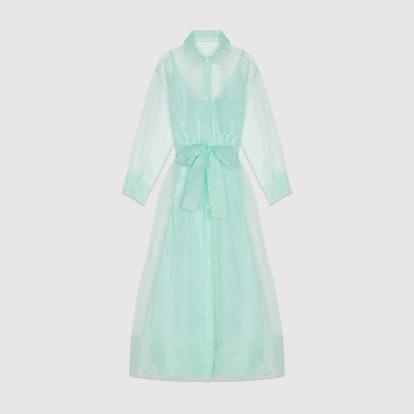Long Organza-Style Shirt Dress