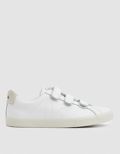 Esplar Leather 3-Lock Sneaker in Extra White