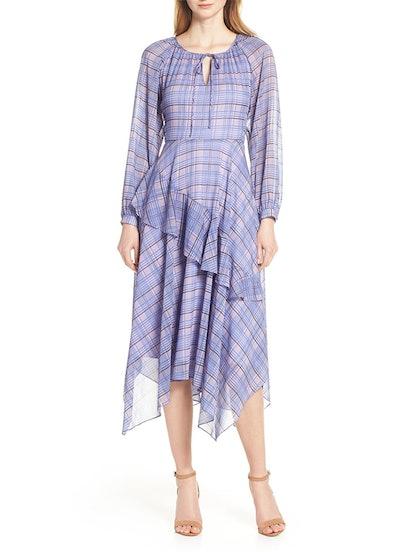 Plaid Asymmetrical Midi Dress