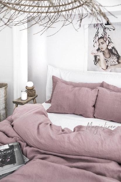 Linen Duvet Cover In Woodrose