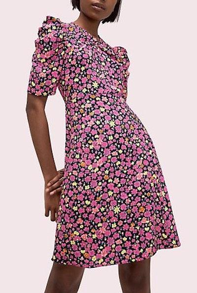 Marker Floral A-Line Dress
