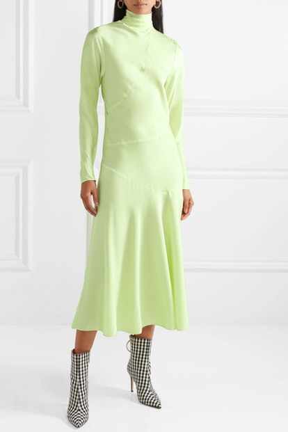 Welecio Silk-Blend Turtleneck Midi Dress