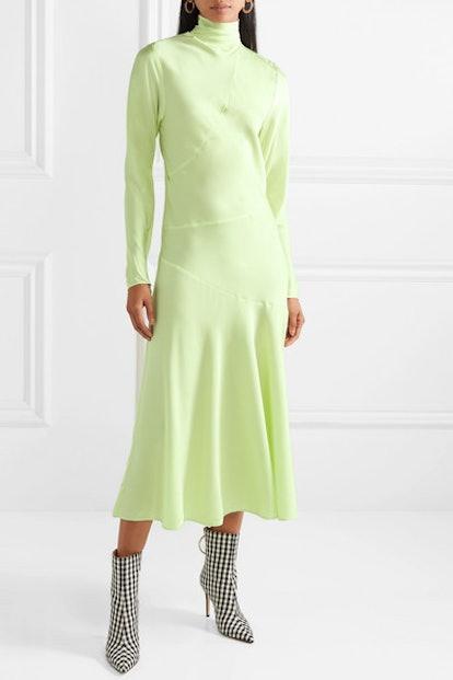 Welecio Silk-Blend Turtleneck Midi Dress