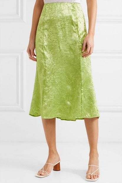 Grace Crinkled-Satin Midi Skirt