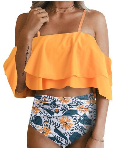 Off Shoulder Ruffled Two Piece