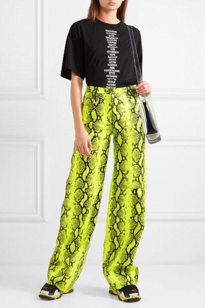 Neon Snake-Effect Leather Straight-Leg Pants