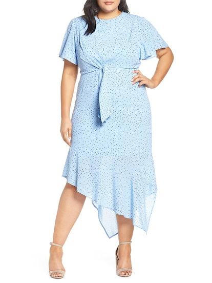 Tie Front Asymmetrical Hem Dress