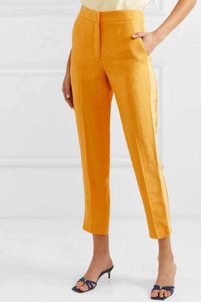 Bentley Cropped Linen-Blend Canvas Slim-Leg Pants