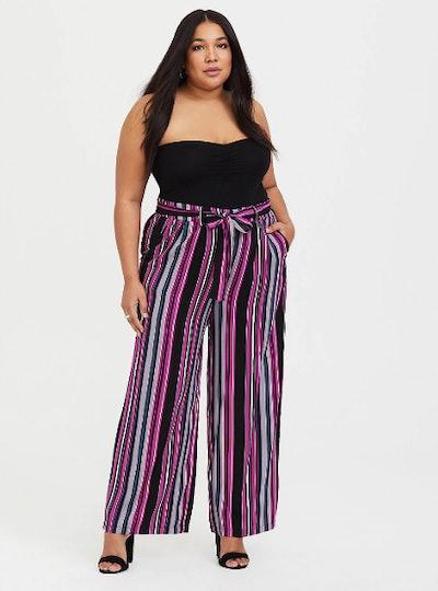 Berry Stripe Challis Tie Front Wide Leg Pant