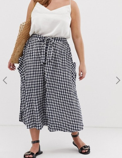 Curve gingham full midi skirt with belt and pockets