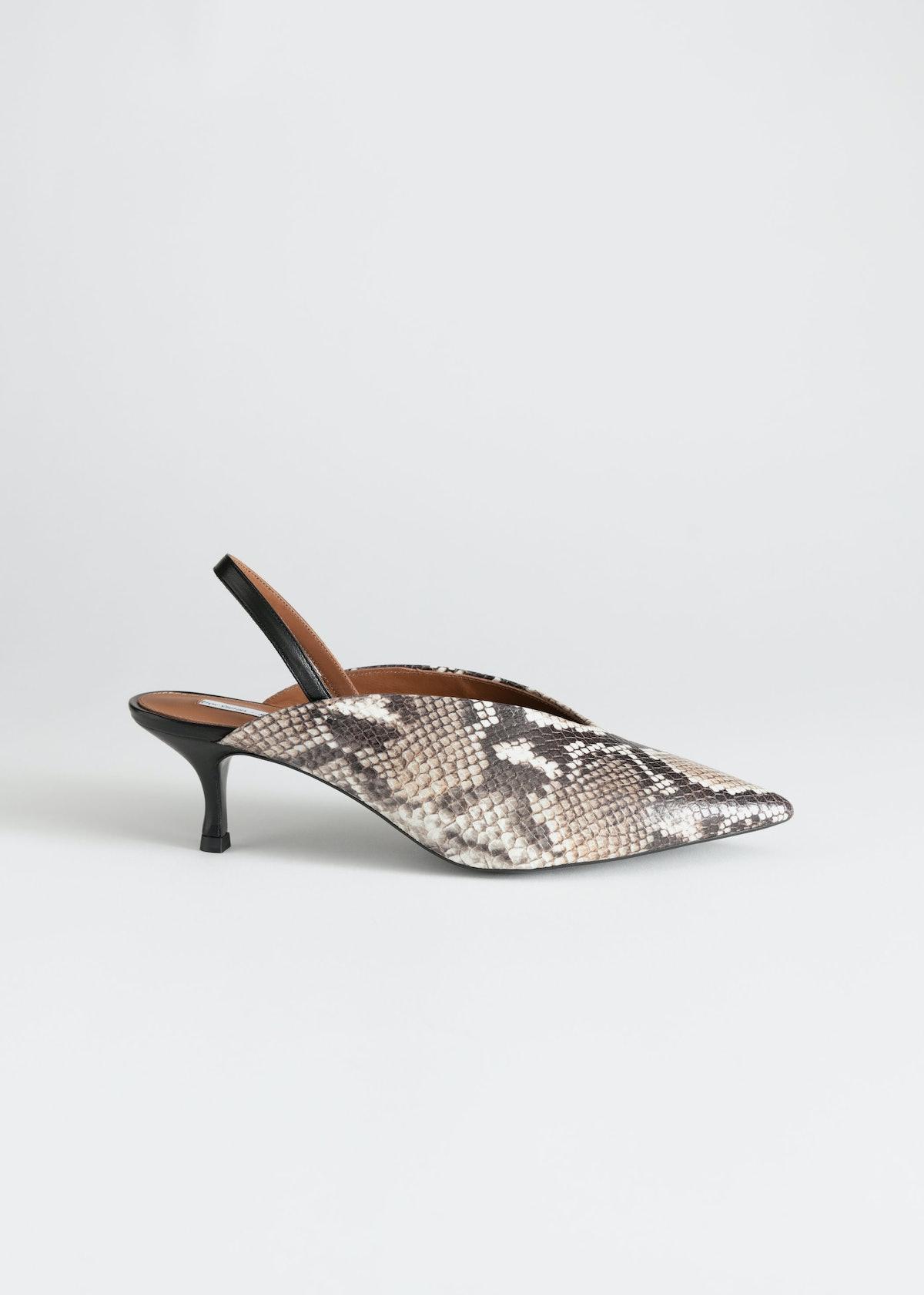 Slingback Snake Kitten Heels