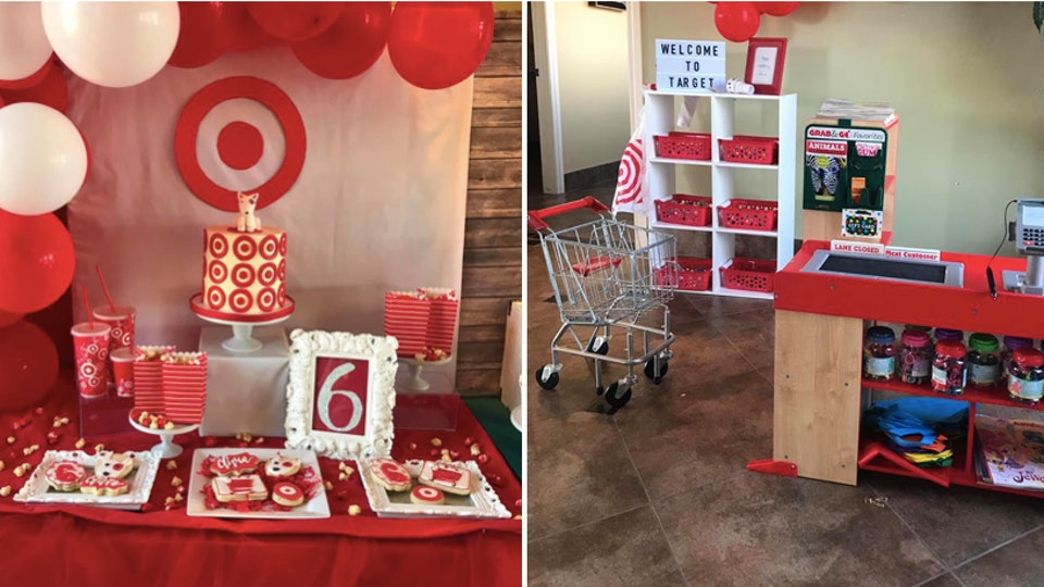 Stupendous This Target Themed Birthday Party For A 6 Year Old Is Everything Funny Birthday Cards Online Aboleapandamsfinfo