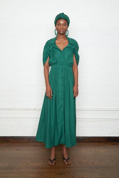 Shirred Waist Tea Dress
