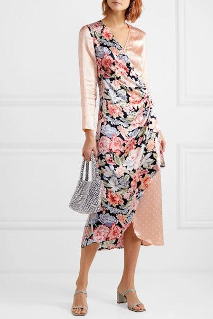 Betty Printed Satin Wrap Midi Dress