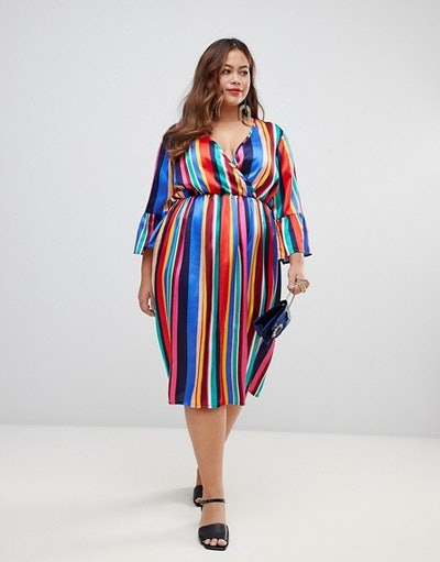 Influence Plus Flared Sleeve Stripe Wrap Dress