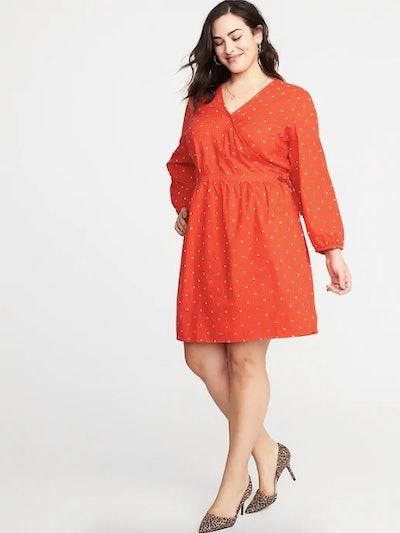 Waist-Defined Plus Size Wrap Front Floral Dress