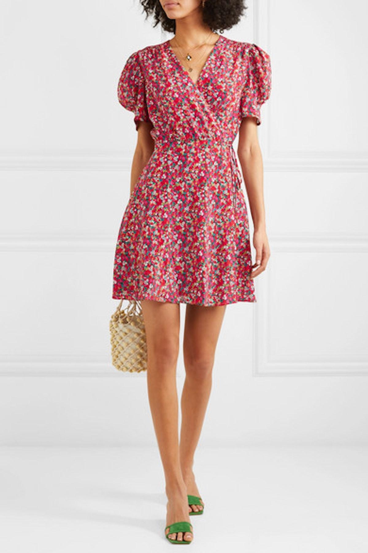 Lea Floral-Print Silk Crepe de Chine Mini Dress