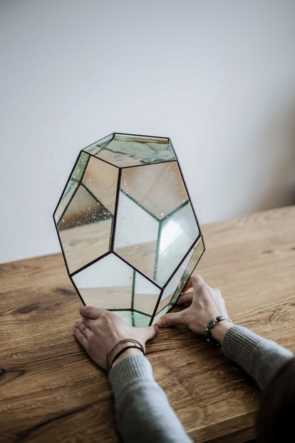 Large Geometric Dodecahedron Glass Vase