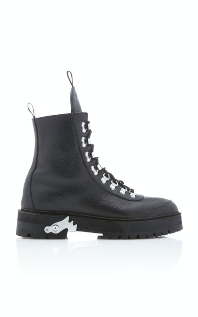 Off-White c/o Virgil Abloh Textured-Leather Ankle Boots