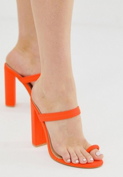 Simmi Hailee neon orange toe loop sandals