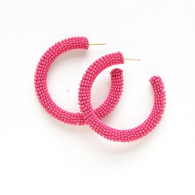 Ink + Alloy Hot Pink Solid Seed Bead Hoop