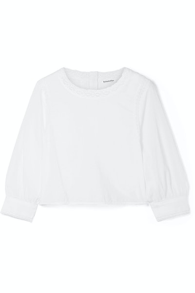Reformation Lottie lace-trimmed organic cotton-voile blouse