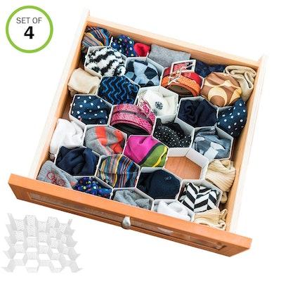 Evelots Sock Drawer Organizer (4 Pack)