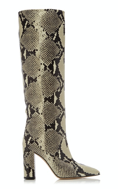 Paris Texas Snake-Effect Leather Knee Boots