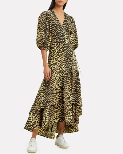 Leopard Yellow Wrap Maxi Dress