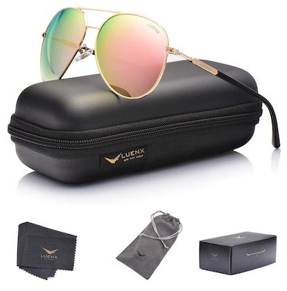 LUENX Mirrored Aviator Sunglasses