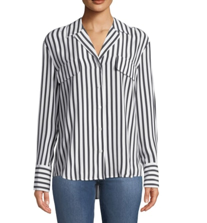 Striped Silk Button-Front Long-Sleeve Top