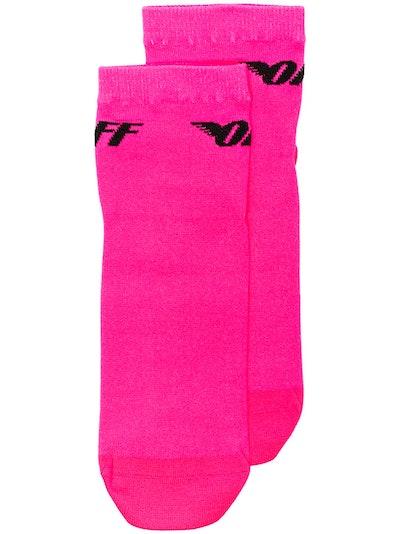 Off-White Pink Neon Wing Stretch Logo Socks