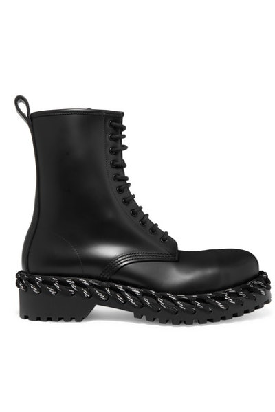 Balenciaga Rope-Trimmed Lace-Up Leather Ankle Boots