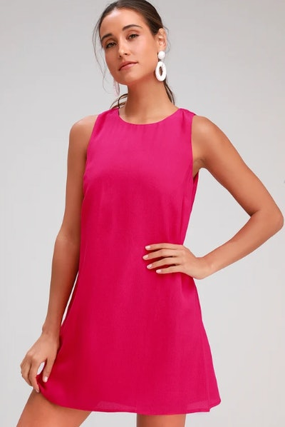 Sassy Sweetheart Magenta Shift Dress