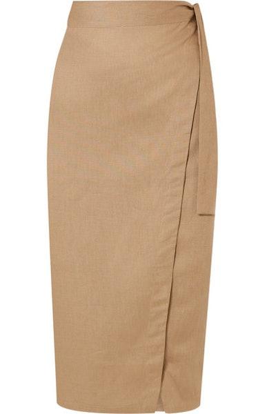 Reformation Florence linen wrap midi skirt
