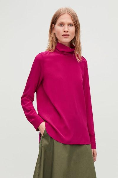 COS High Neck Silk Blouse
