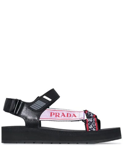 Logo-Embossed Rubber-Trimmed Leather And Canvas Sandals