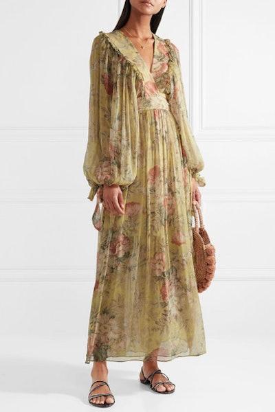 Melody Floral-Print Silk-Crepon Maxi Dress