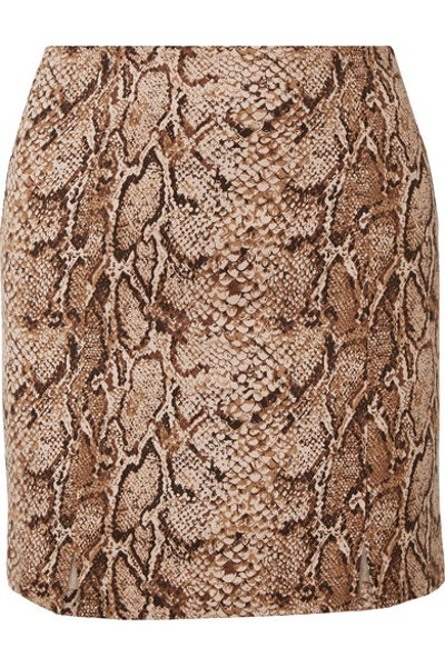 Reformation Oak snake-print stretch-jersey mini skirt
