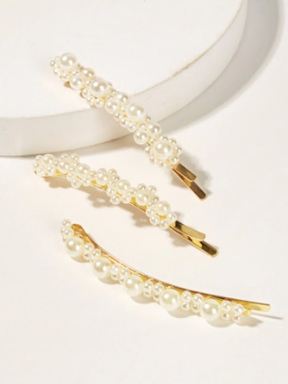 Faux Pearl Decor Hairpin 3pack