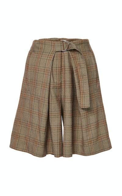 James Menswear Check Pleated Shorts