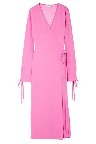 Crepe Midi Wrap Dress