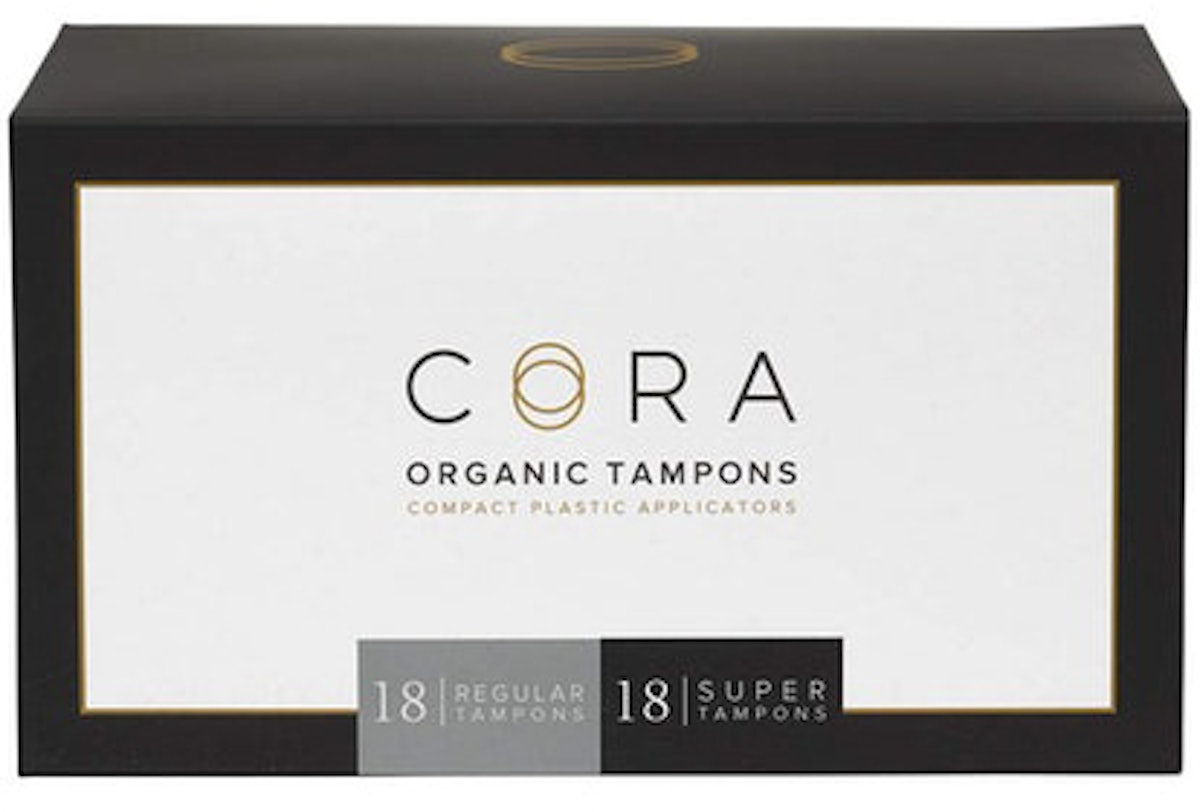 Cora Organic Cotton Tampons with Compact Applicator, Regular and Super Multi-Pack, 36 Count