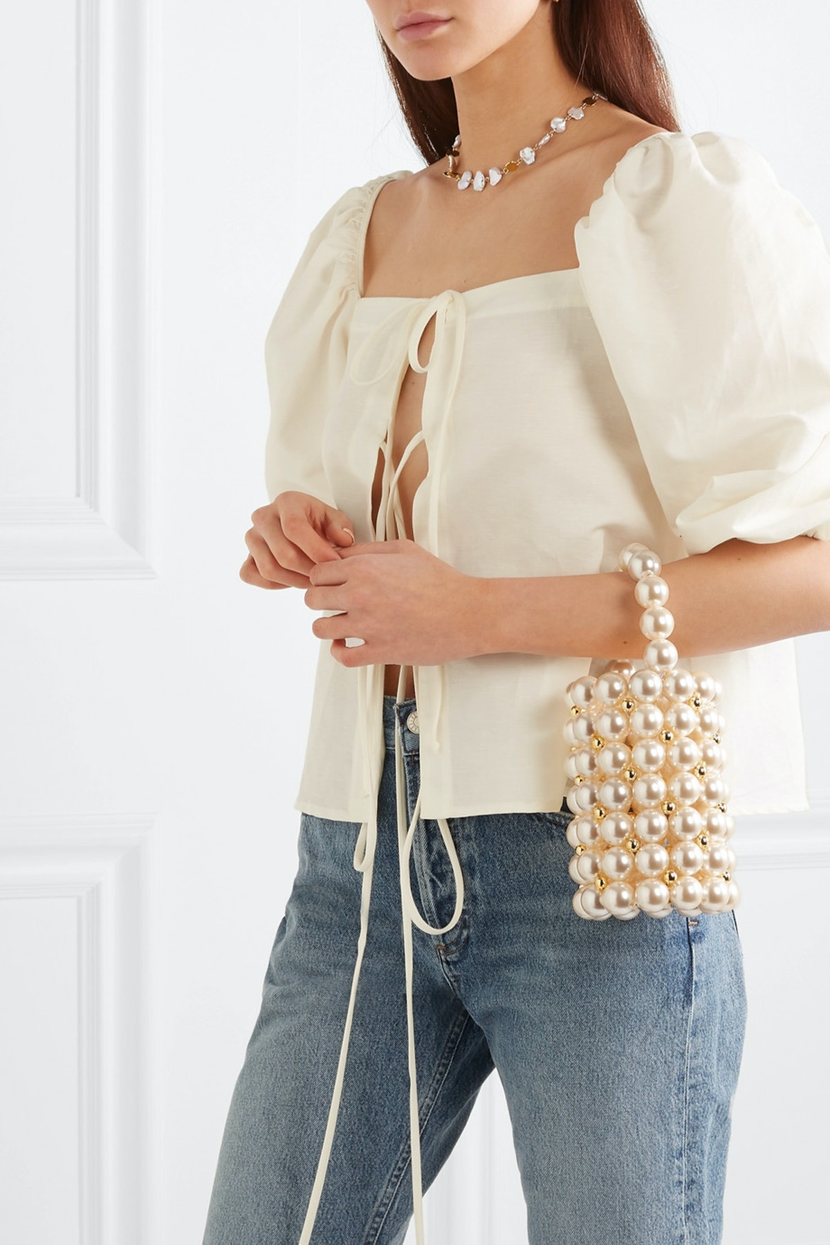 Comino Faux Pearl And Gold-Tone Beaded Tote