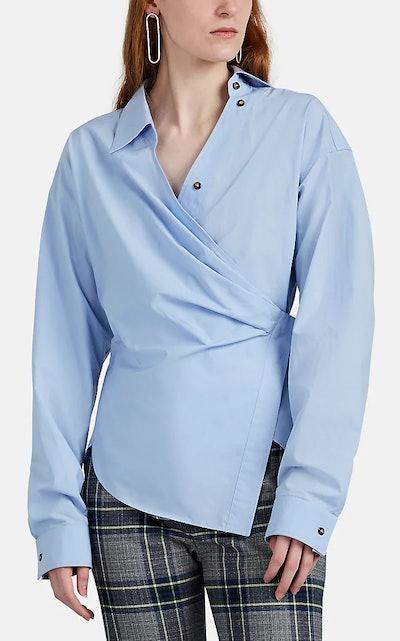 Draped Cotton Poplin Shirt