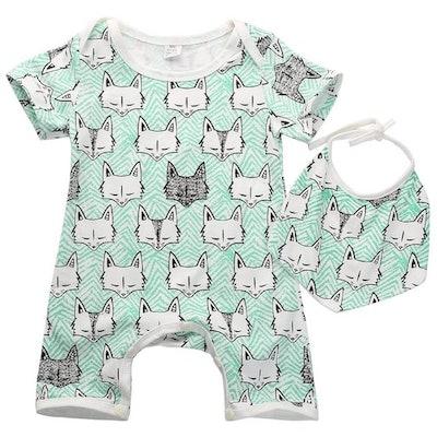 Baby Girls/Boys Fox Print Dribble Bib & Romper (Sizes 0-24 months)