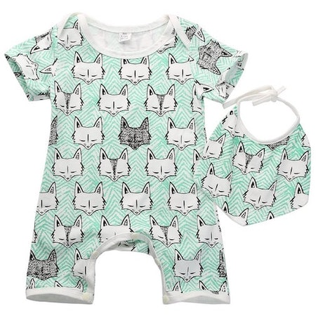 Baby Girls/Boys Fox Print Dribble Bib & Romper (Sizes 0-24 months)